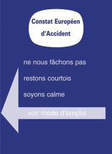 constat amiable accident de la route